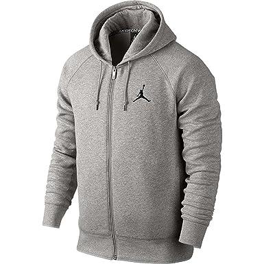 655e8b3488ae Jordan Nike Mens Jumpman Brushed FZ Hooded Sweatshirt Hoodie - Grey -   Amazon.co.uk  Clothing