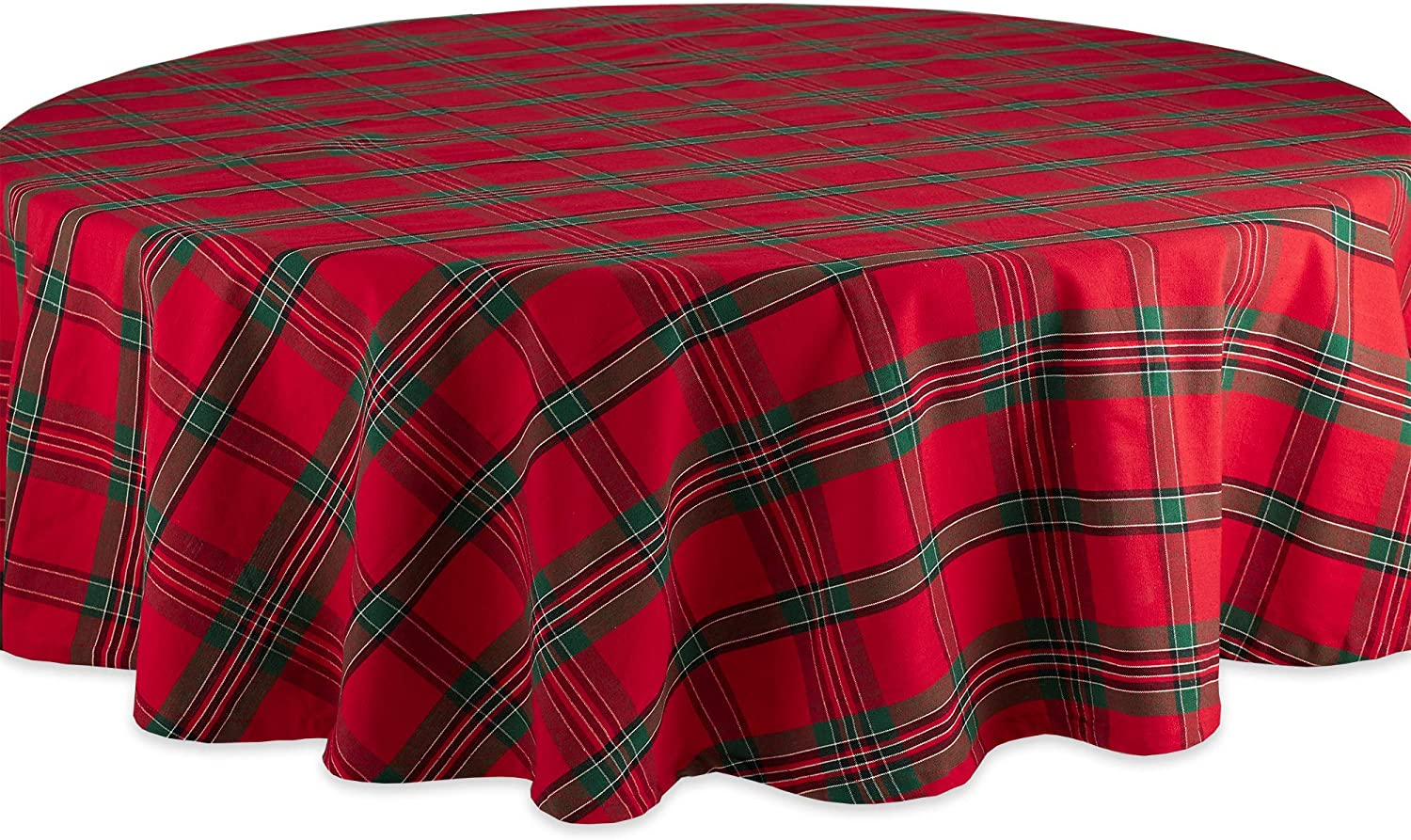 Amazon Com Dii Holiday Plaid Round Tablecloth 100 Cotton With 1 2 Hem For Holiday Family Gatherings Christmas Dinner 70 Seats 4 To 6 Furniture Decor