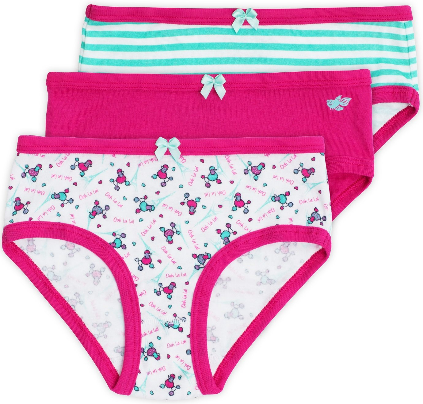 Katie Girls Briefs, 100% Cotton, Everyday Collection, 3-Pack, Poodle Print, 9/10