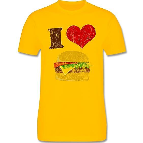 lustige Fotomotive - I love Burger - XS - Gelb - L190 - Herren Premium  Rundhals