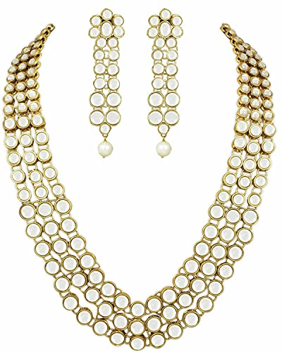 36abb989635bb Shining Diva Gold Plated Traditional Jewellery Kundan Pearl Necklace Set  with Earrings for Women (White) (rrsd6706s)