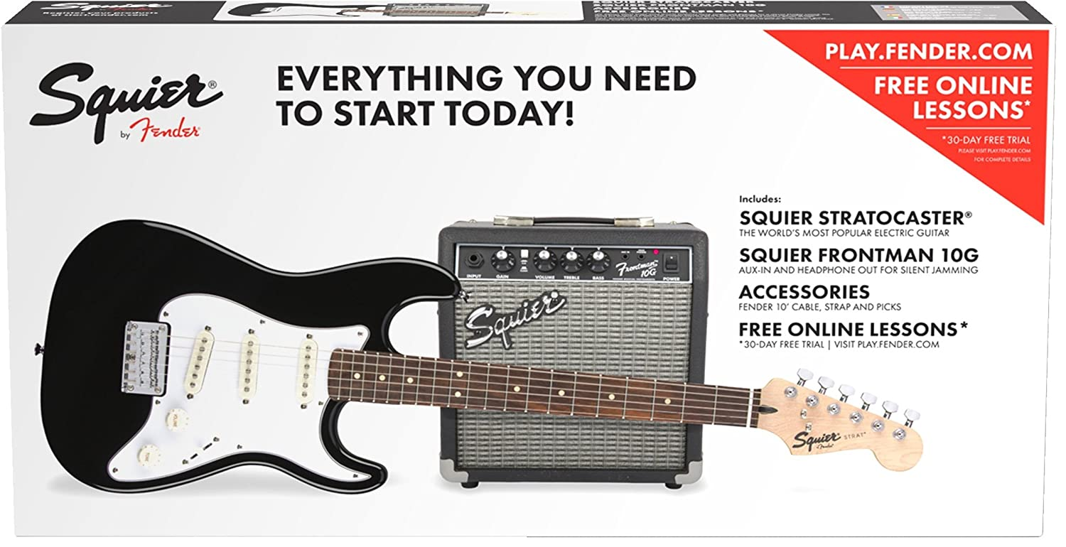 Amazon.com: Squier by Fender Standard Stratocaster Beginner Electric Guitar Pack - Short Scale - Black: Musical Instruments