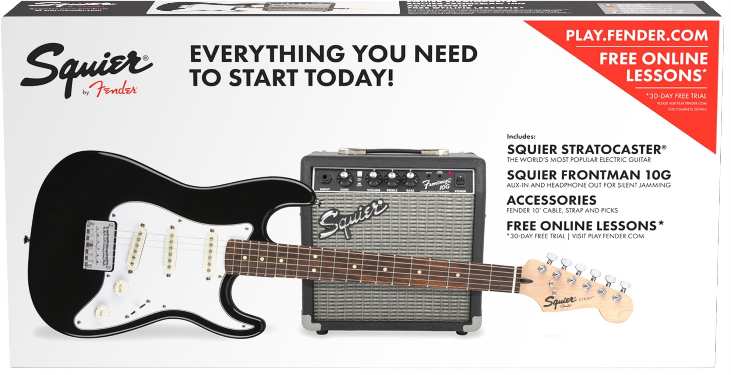 Best Rated In Electric Guitar Beginner Kits Helpful Customer Austin Stratocaster Wiring Diagram Squier By Fender Standard Pack Short Scale Black Product Image