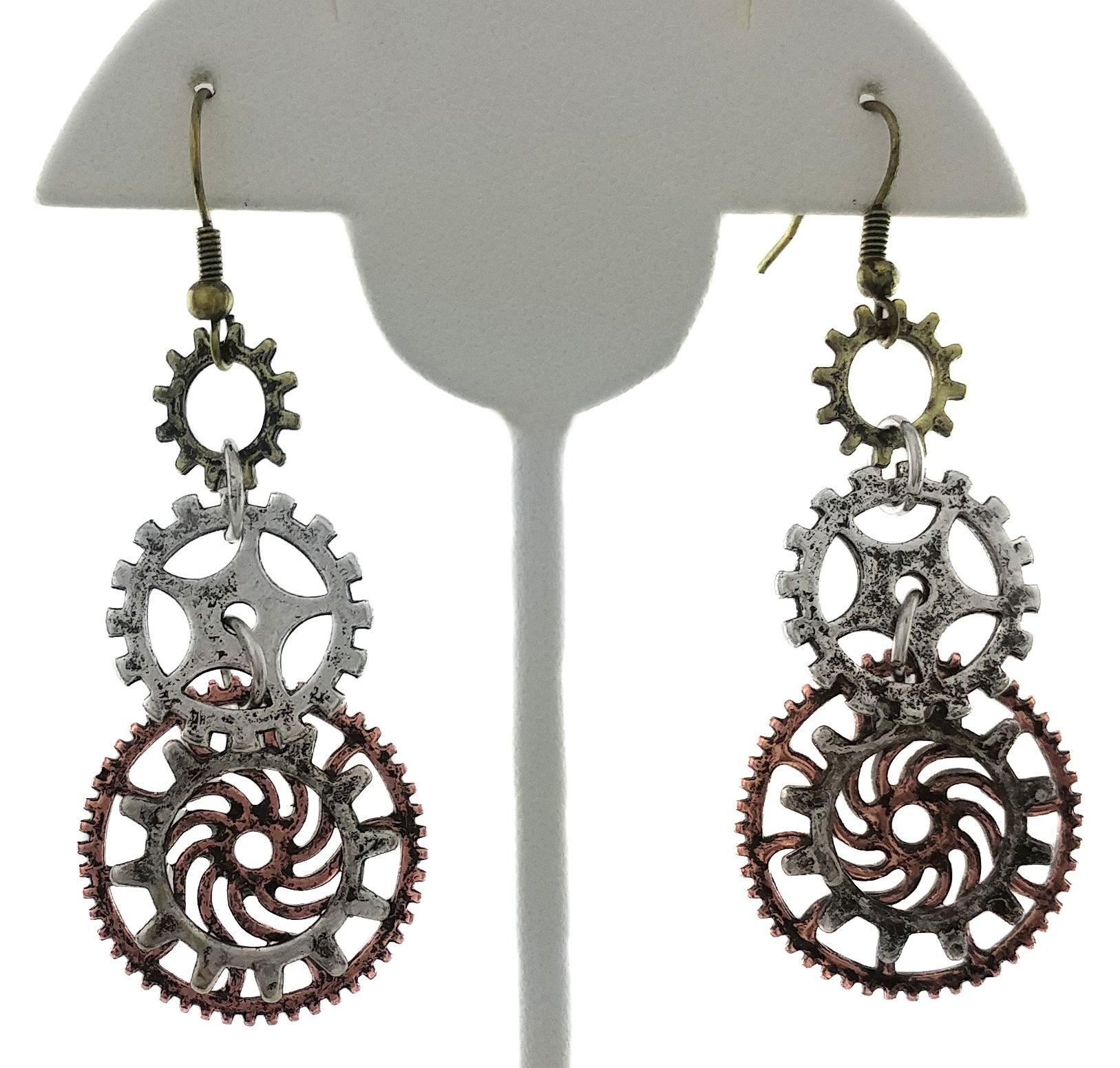 Women's Steampunk Earrings for sensitive ears | Triple Clock Wheel Gear Mixed Tone 4