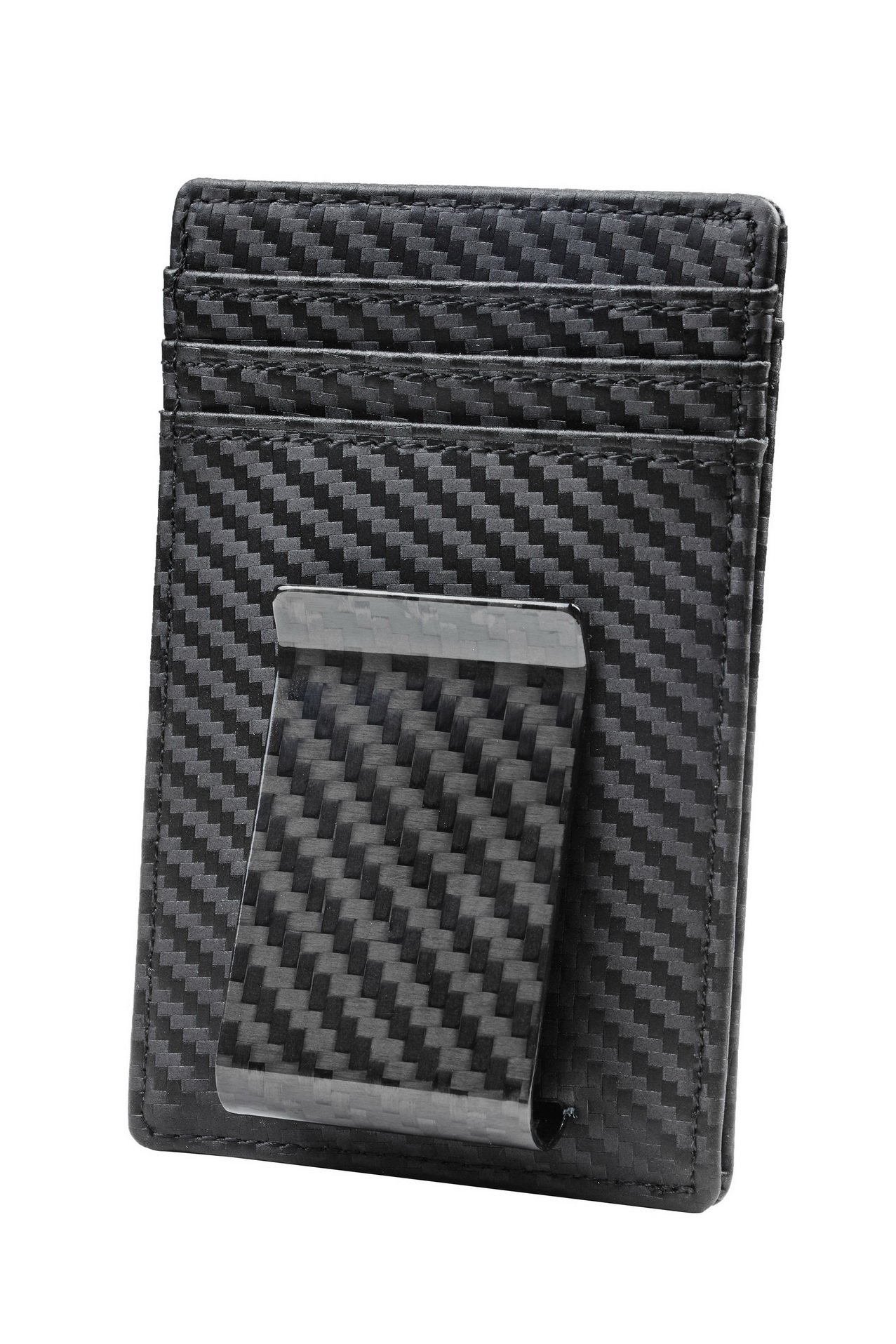 Travelambo Money Clip Front Pocket Wallet Slim Minimalist Wallet RFID Blocking (01 carbon fiber elite) by Travelambo (Image #1)