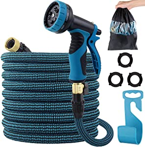 LANIAKEA 75FT Garden Hose, Expandable Flexible Water Hose with Double Latex Core/9 Function Nozzle/Durable Fabric, No-Kink Durable Expanding Flexible Hose, Crack, Leak Resistant