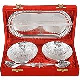 Jaipur Ace Silver Brass Bowl, Spoon & Tray Set, 5 Piece, Silver