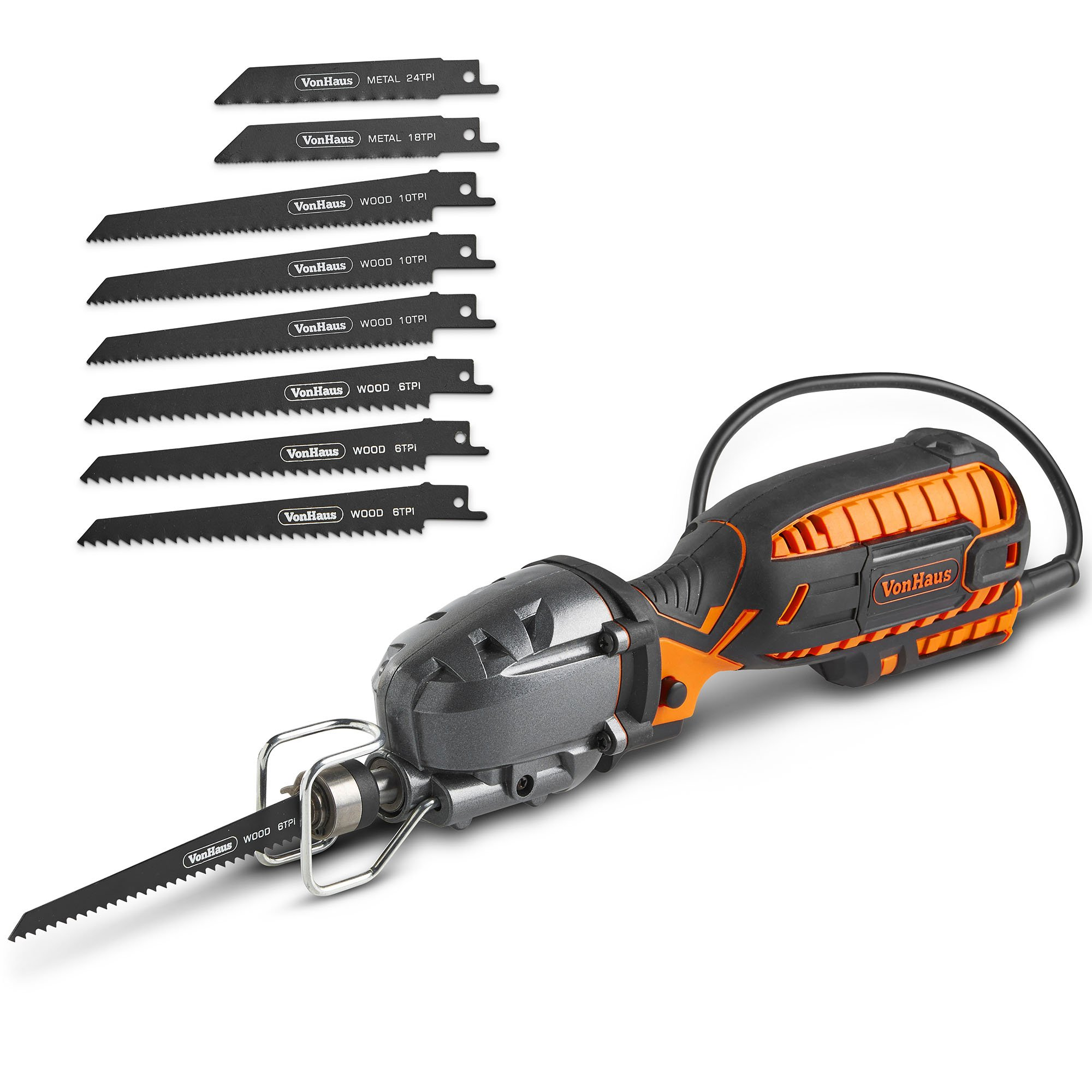 VonHaus 5 Amp Compact Reciprocating Saw Kit Electric Saw with 8 Blades, ½'' Stroke Length, Max. Cutting Capacity 4½'', 3000SPM and 16ft Cable, For DIYWood Cutting & Metal Cutting by VonHaus