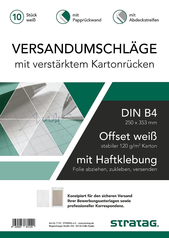 10 Stück Versandtaschen B4 mit Papprückwand, selbstklebend mit  Abdeckstreifen (haftklebend), weiß, sehr stabile 120 g/qm, ideal für Ihre  Bewerbung und ...