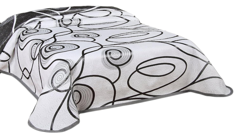 Brandsseller Tagesdecke Bettüberwurf Steppdecke zweiseitige Multifunktionsdecke XXL - (240 x 260 cm, Weiß - Grau)