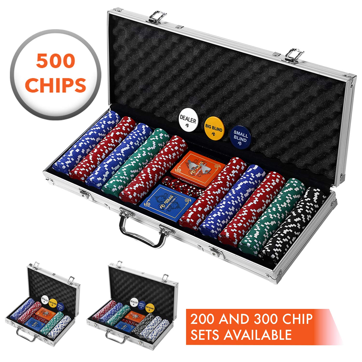 Professional 500 Chips (11.5g) Poker Set with Case by Rally & Roar - 3 OPTIONS - Complete Poker Playing Game Sets with Casino Style Chips, Cards, Dice, Aluminum Color Case & Keys by Rally and Roar