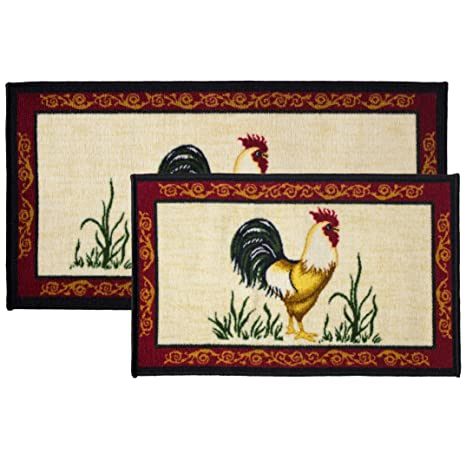 Kashi Home 2pc Dot Rooster Kitchen Rug Set, Area Rug, Mat, Carpet, Non-Skid  Latex Back (18x30 Rectangle & 20x40)