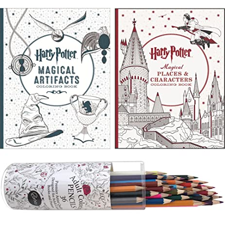 Set Harry Potter Magical Artifacts And Places Coloring Books Pencils
