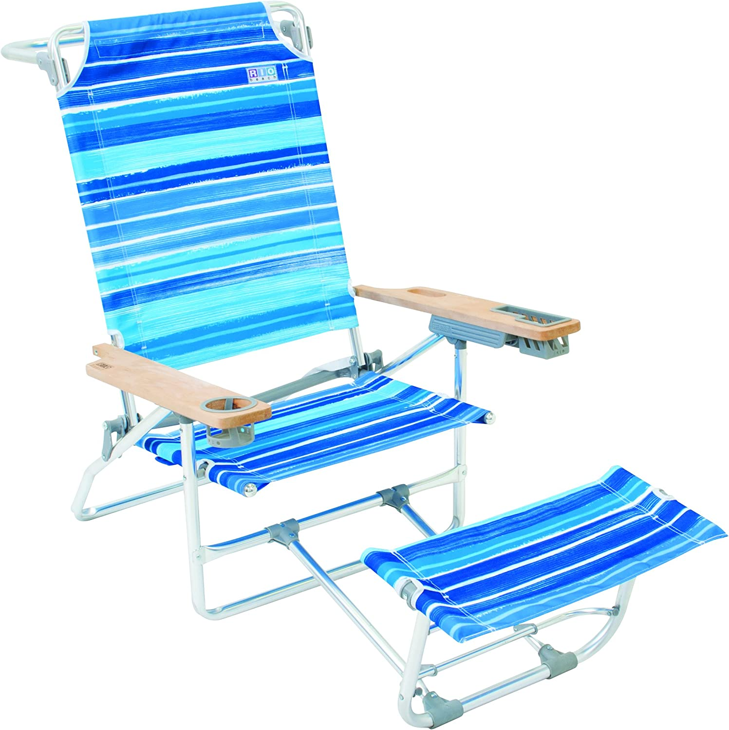 Rio Brands Big Kahuna Beach Chair With Foot Rest Blue Stripes Sports Outdoors