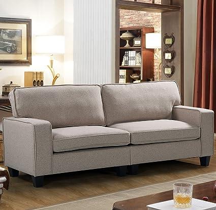 Merax Harperu0026Bright Designs Upholstered 78in Sofa Living Room Loveseat Couch  (Beige ...