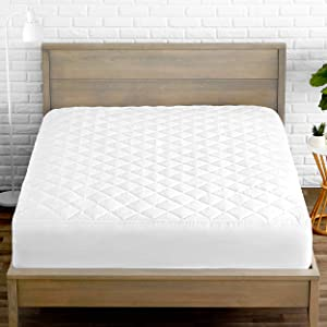 Bare Home Quilted Fitted Mattress Pad - Cooling Mattress Topper - Hypoallergenic Down Alternative Fiberfill - Stretch-to-Fit (Queen)