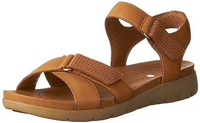2aa93c6df24 CLARKS Womens Un Saffron Walking Sandal Light Tan Leather Size 10