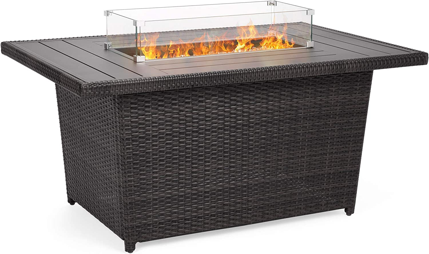 Best Choice Products 52in Outdoor Wicker Propane Fire Pit Table 50,000 BTU w Glass Wind Guard, Tank Holder, Cover -Gray