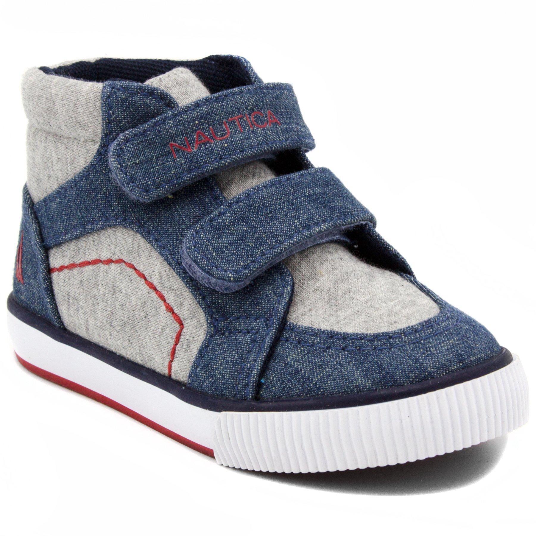 Nautica Kids Rig Canvas Velcro Sneaker Fashion Shoe Boot Like High Top -Denim/Grey-6