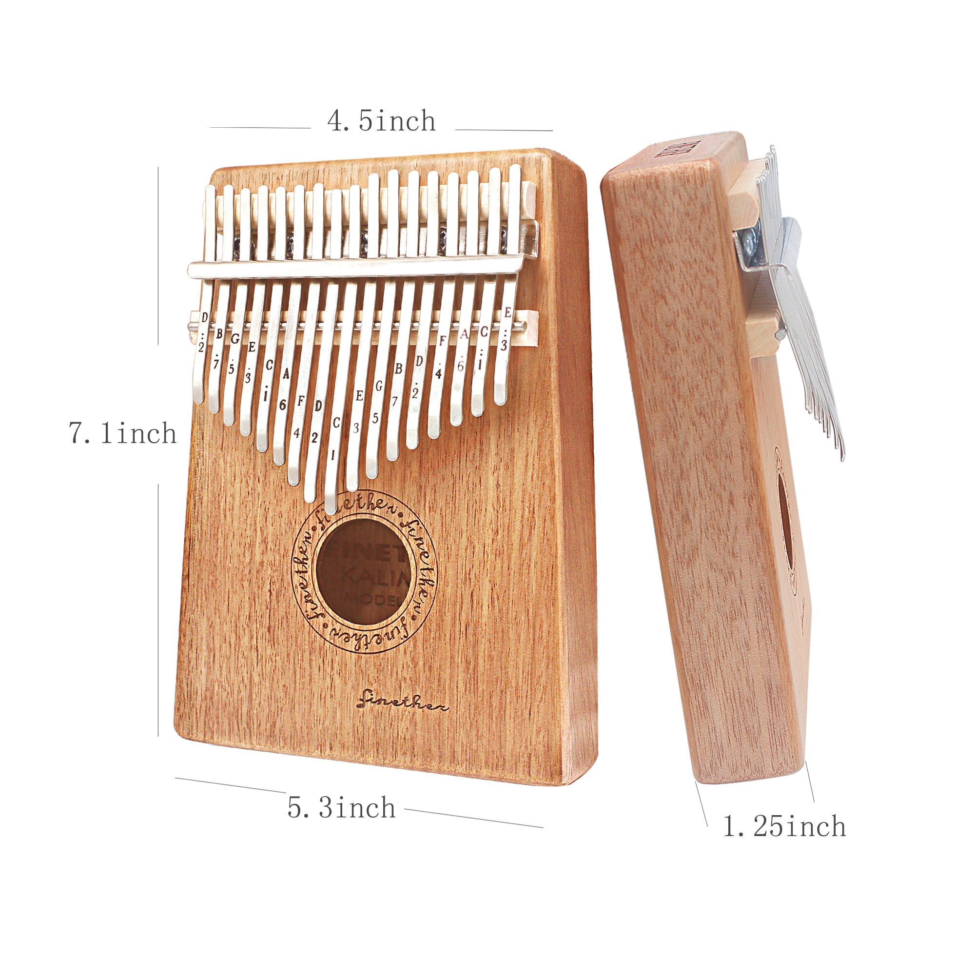 17 Keys Mahogany Kalimba Thumb Piano Wood Mbira Sanza Finger Percussion Pocket Keyboard w/Calibrating Tune Hammer for Beginners and Children (Mahogany) by AHongem (Image #2)