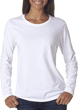 Gildan Heavy Cotton Ladies' Long-Sleeve T-Shirt, Wht at Amazon ...