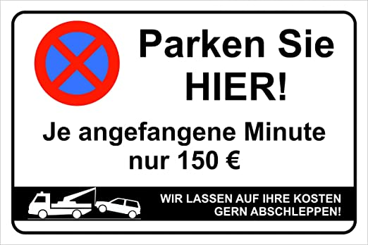 Cartel de advertencia de prohibición de aparcar (puede no ...
