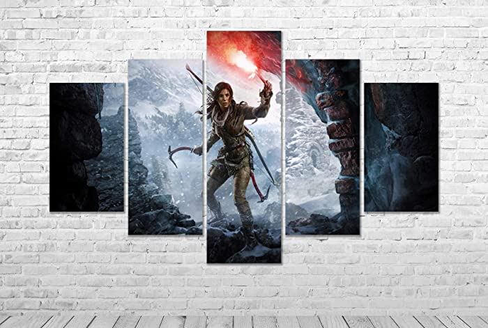 Amazon com: Tomb Raider Gaming CANVAS PRINT Split Panel Wall Art