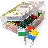 Bandierine segnaletiche OfficeTree ® - 100 pz. 5 colori - marcatura perfetta su cartine, mappe, lavagne - chiodini cartine, accessori di marcatura - in una pratica scatola