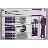 Cutlery Tray by Mindspace, 6 Compartments Utensil Organizer   The Mesh Collection, Silver