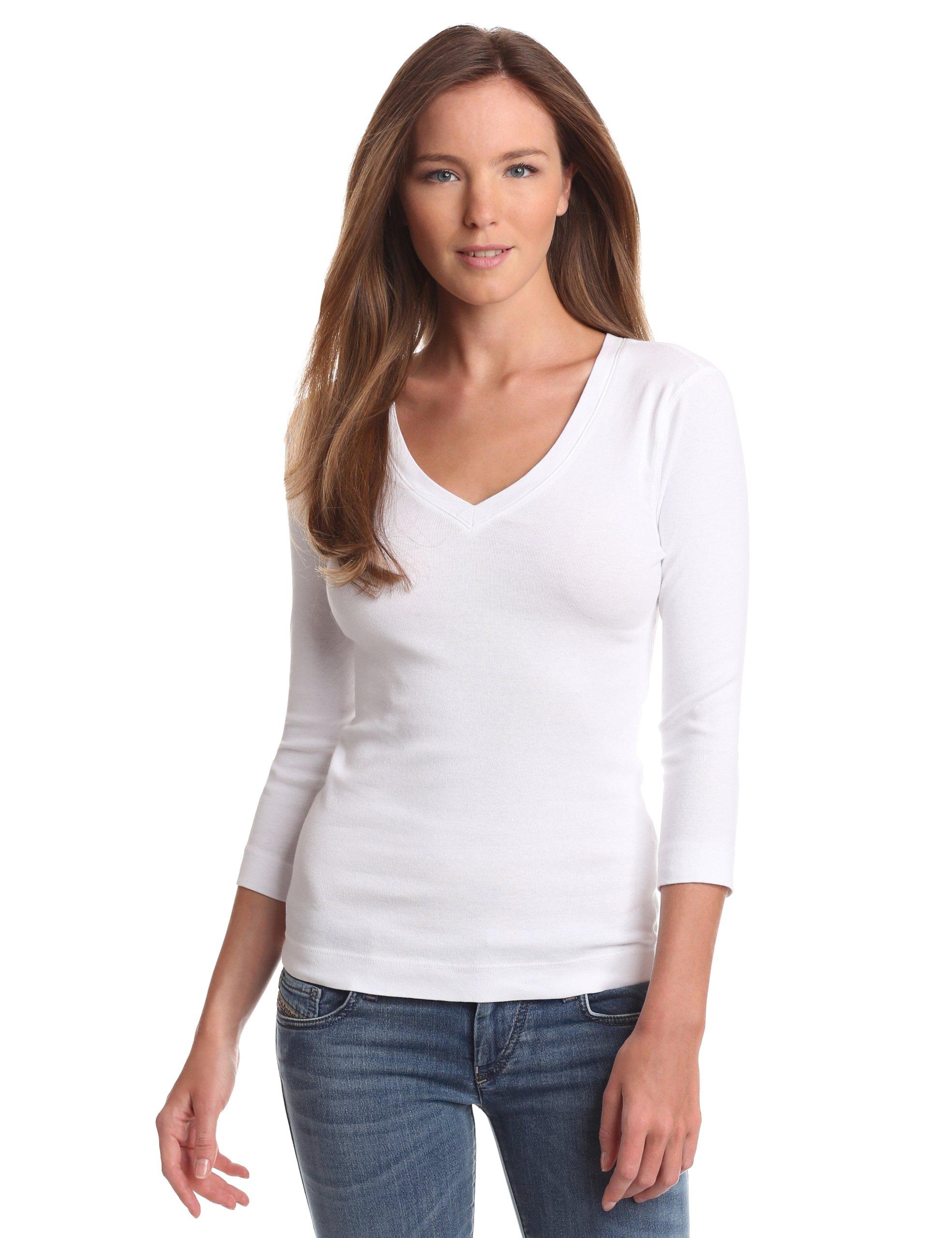 Three Dots Women's Deep V Neck 3/4 Sleeve Tee, White, Large