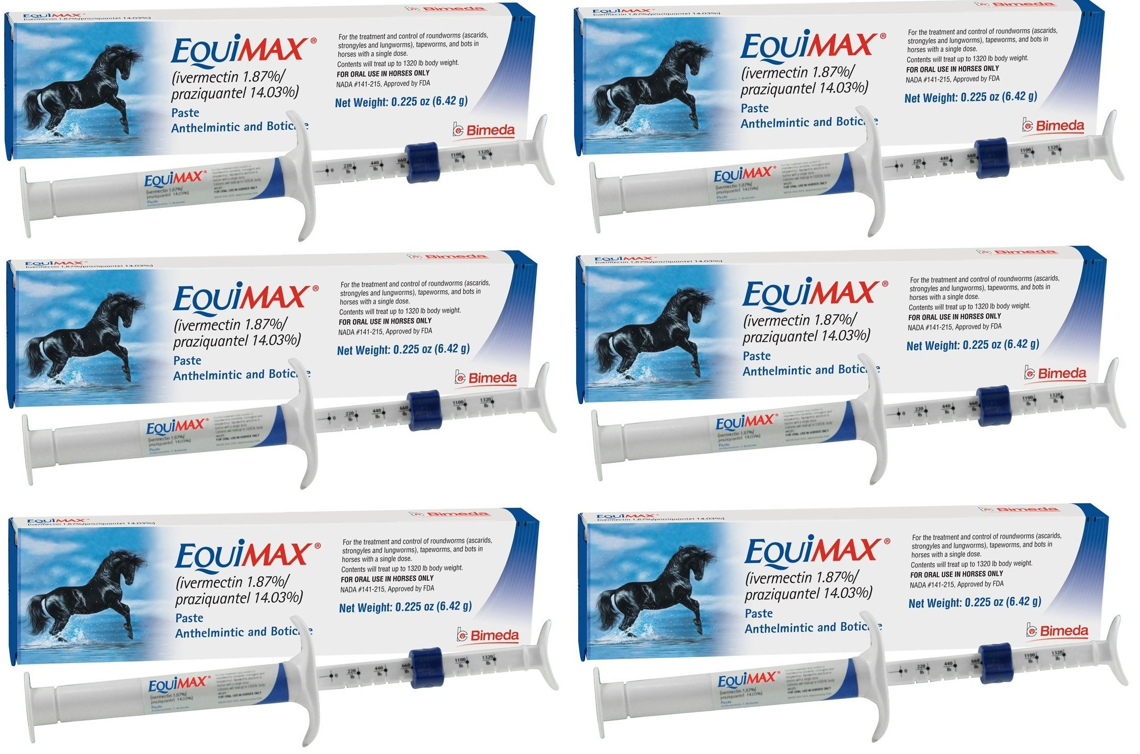 (6 Pack) Bimeda Equimax Horse Wormer Ivermectin 1.87 Percent and Praziquantel 14.03 Percent Paste Tube by Bimeda