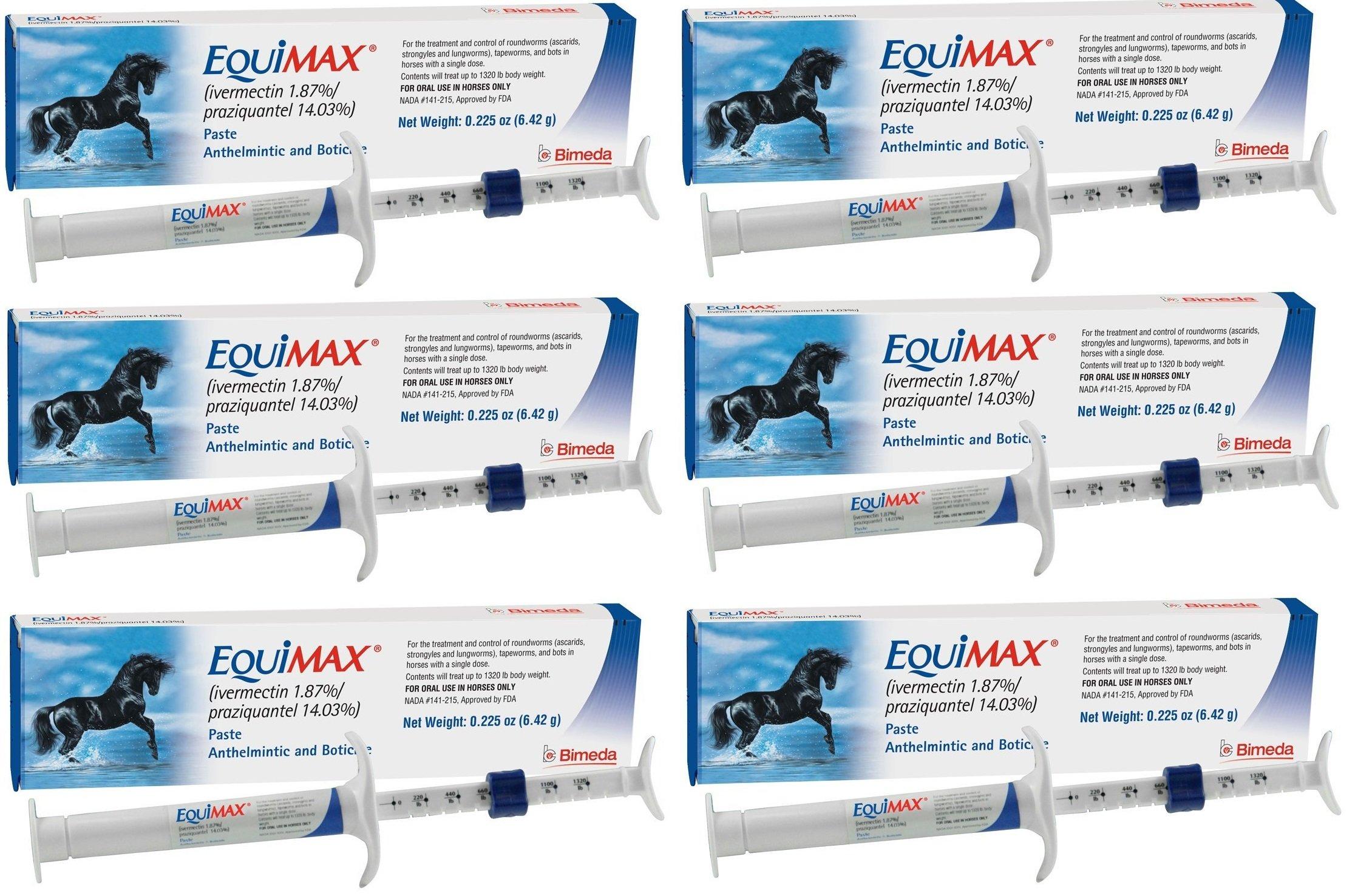 (6 Pack) Bimeda Equimax Horse Wormer Ivermectin 1.87 Percent and Praziquantel 14.03 Percent Paste Tube