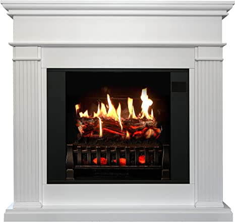 Magikflame Electric Fireplace With Mantel Morpheus White 30 Flames Compact Freestanding 5 200 Btu Heater Crackling Log Sound Bluetooth App New York Chicago San Francisco Los Angeles Kitchen Dining