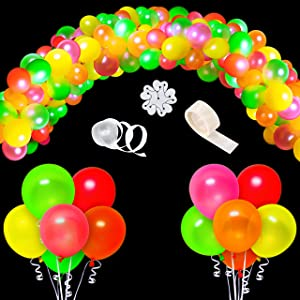 WATINC 123Pcs UV Blacklight Reactive Party Balloons Garland, Neon Fluorescent Balloons, Neon Glow in Dark Party Balloons, Party Supplies for Birthday Wedding Halloween Christmas Décor with Mixed Color