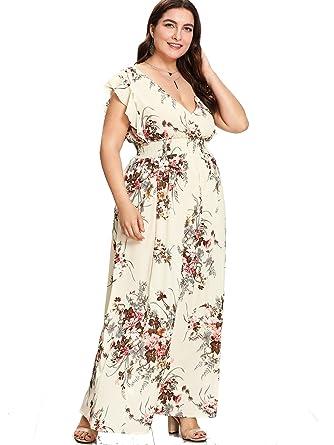 6870452e3199 Milumia Plus Size Sun Dress Empire Waist Wrap V Neck Floral Print Boho  Chiffon Sleeveless Party