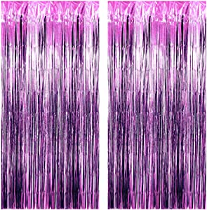 3.25 x 6.7 ft (2 Pack) Tinsel Foil Fringe Curtains Party Decorations Photo Booth Backdrop | Wedding Décor Baby Shower Graduations Valentine Day Bachelorette Birthday Decorations (Purple (Sparkly))