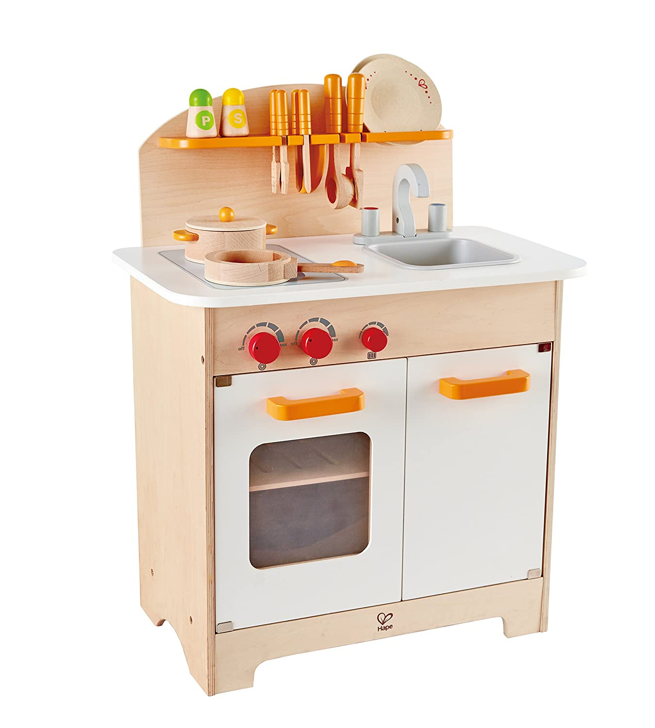 Hape E8116 Gourmet Chef Kitchen And Cookware Wooden Play Set Kids Pretend Play Ebay