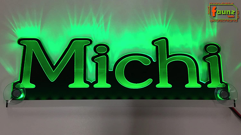 """/""""Michi/"""" gr/ün oder Ihr Wunschname in w/ählbarer Lichtfarbe als hochwertige Plexiglas-Gravur Konturschnitt 12//24V /©faunz LED LKW Truck Leuchtschild Namensschild Truckerschild bspw"""