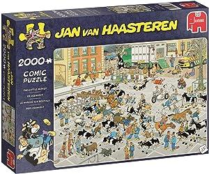 Jumbo 19078 Jan Van Haasteren-The Cattle Market 2000 Piece Jigsaw Puzzle, Multi
