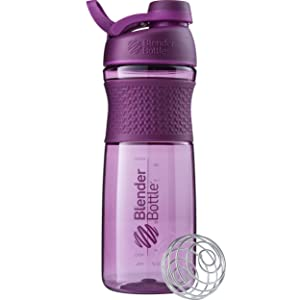 BlenderBottle SportMixer Twist Cap Tritan Grip Shaker Bottle, 28-Ounce, Plum