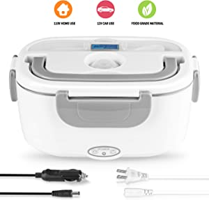 Electric Lunch Box 2 in 1, Electric Lunch Box Food Heater Car and Home Use Portable Lunch Heater 110V & 12V 40W - Stainless Steel Portable Food Warmer Heater 1.5L