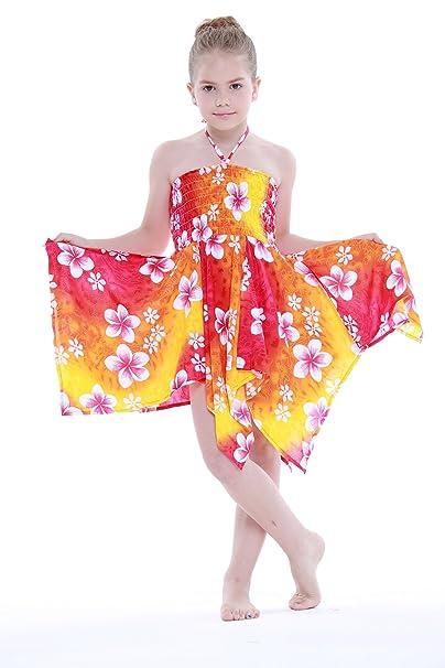 Niña gitano Botón desigual Hawaiian Luau vestido en Arco iris naranja Floral 8