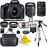Canon EOS 4000D Digital SLR Camera w/ 18-55 Lens Kit + Canon 75-300 Lens Black w/Accessory Bundle, Package Includes…