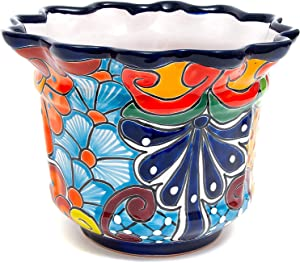 ENCHANTED TALAVERA Mexican Pottery Heavy Weight Ceramic Scalloped Flower Pot Plant Pot Succulent Planter Garden Decor Cobalt (Large (11x8.5))