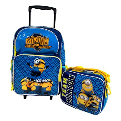 "50%OFF Despicable Me 2 Minions Don't Move Large 16"" Rolling Wheeled Book Bag School Backpack & Lunch Bag Set"