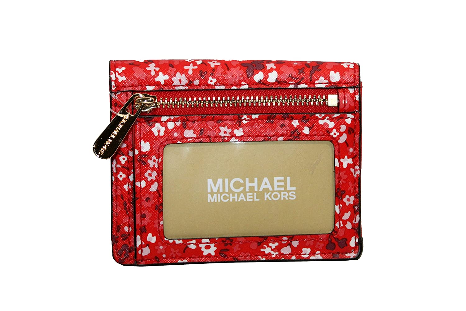 cfc1ff2ae MICHAEL Michael Kors Women's Jet Set Travel Card Case ID holder Printed  Leather (Black/darkBrown) at Amazon Women's Clothing store: