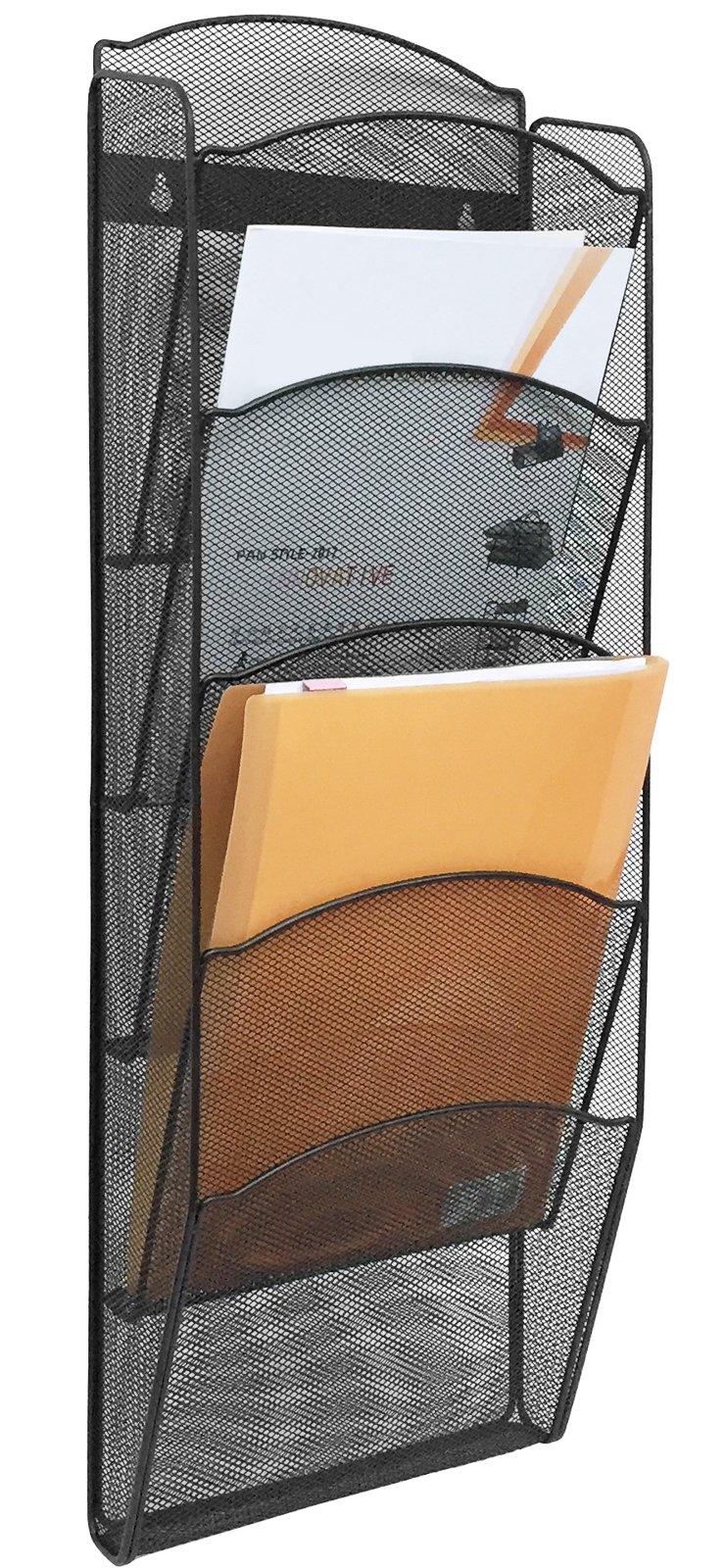 Greenco Mesh 5 Slot Wall Mounted Magazine Rack Holder, Black (GRC2579)