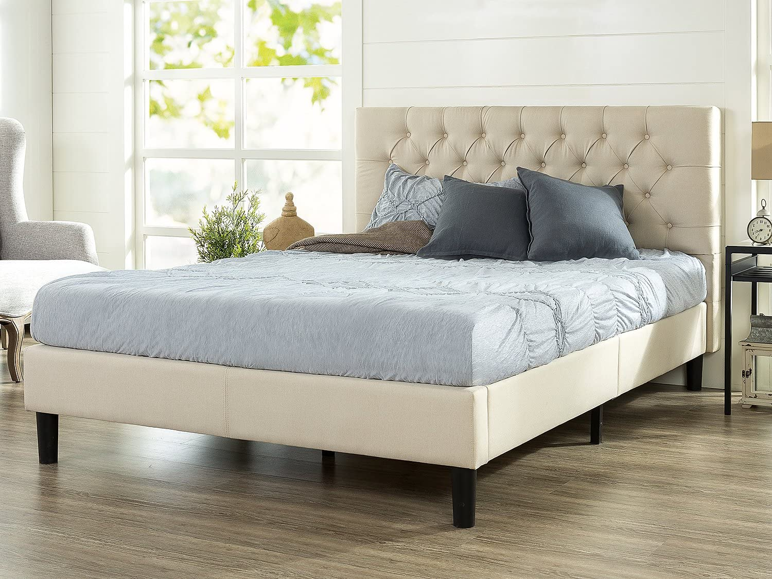 Zinus Misty Upholstered Modern Classic Tufted Platform Bed Easy Assembly Strong Wood Slat Support Full Mattress Foundation