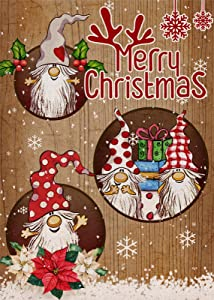 Covido Home Decorative Merry Christmas Garden Flag, Xmas Gnomes House Yard Lawn Welcome Antlers Decor, Winter Holiday Farmhouse Outside Decoration Seasonal Outdoor Small Burlap Flag Double Sided 12x18