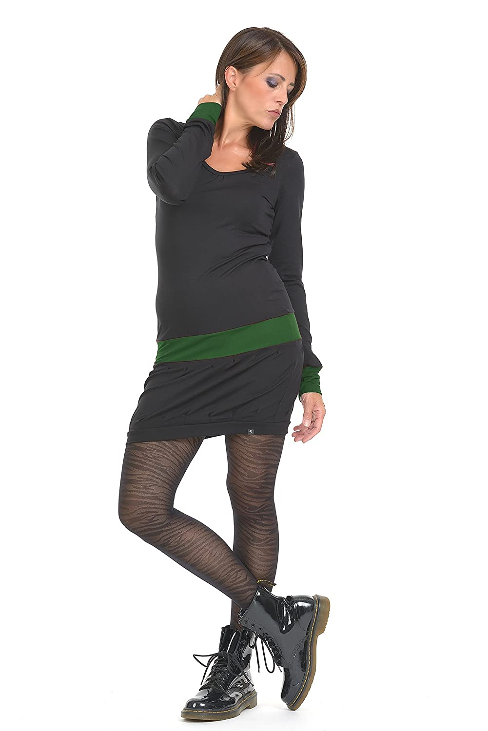 Long Sleeve Woman Dress / Mini Dresses designed by 3Elfen - Casual Bodycon Summer Outfit in Plus Size Fashion Girls / black dark green 3XL